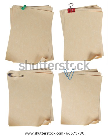 brown paper attached by some different type of paper clip - stock photo