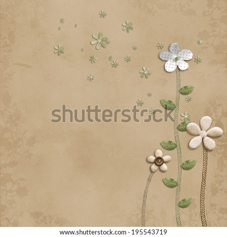 brown paper background with stitches paper flowers - stock photo