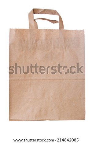 Brown Paper Bag - handmade clipping path (at ALL sizes) - stock photo