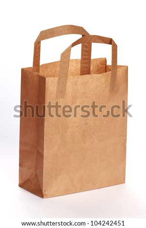 Brown Paper Bag. isolated on white - stock photo