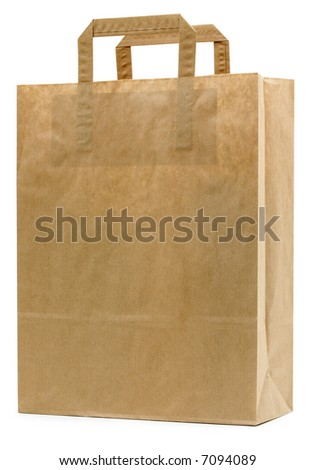 Brown Paper Bag - isolated on white - stock photo