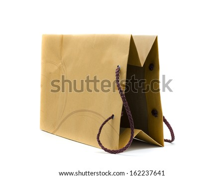Brown paper bag ,Isolated on white background