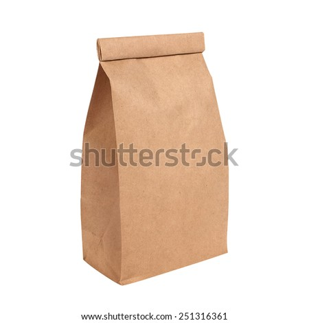 Brown paper bag isolated on white background. Clipping path included - stock photo