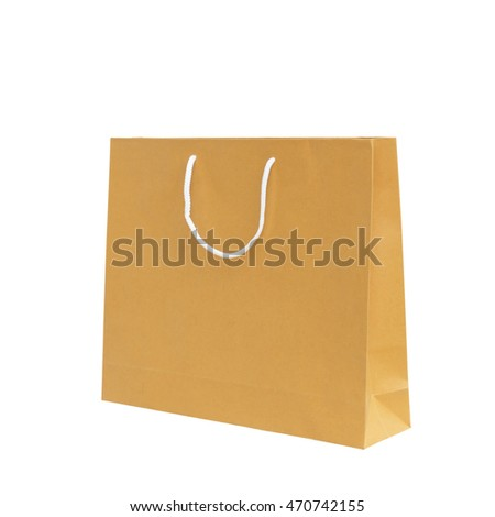 Brown paper bag isolated on white background with clipping path easy to use.