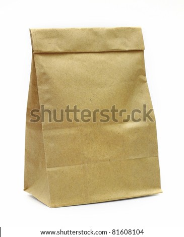 Brown paper bag isolated over white background - stock photo