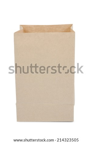 Brown paper bag isolated over white background, file includes a excellent clipping path