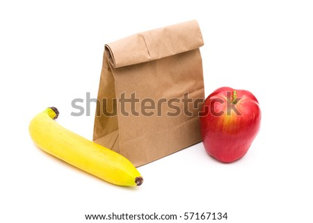 Brown Paper Bag Lunch isolated on a white background, healthy lunch - stock photo