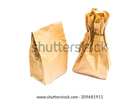 Brown Paper Bag Lunch  on white background.