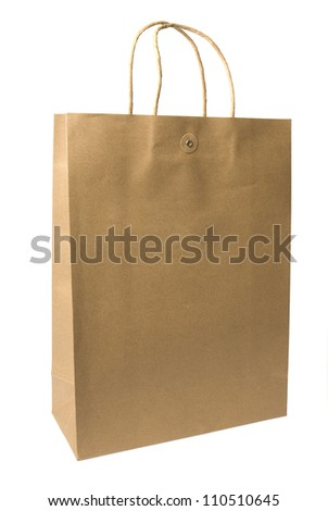 Brown paper bag on a white background. - stock photo
