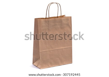 Brown paper bag on a white background