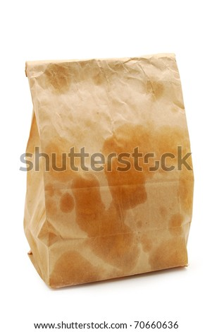 brown paper bag with grease spots - stock photo