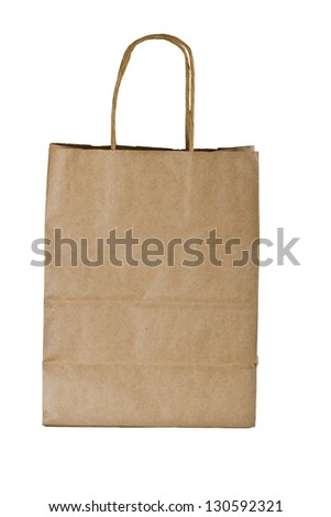 brown paper bag with handles isolated on a white background