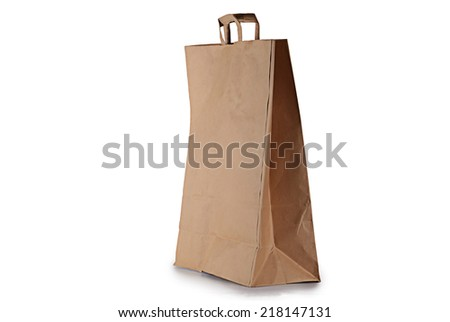 brown paper bag with handles on white background