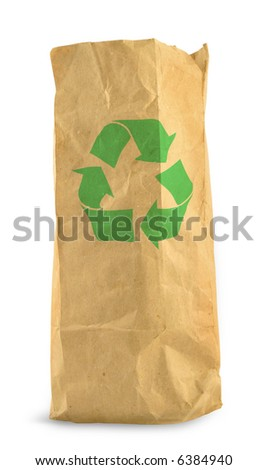 brown paper bag with recycle symbol against white background, gentle minimal shadow in front and left side - stock photo