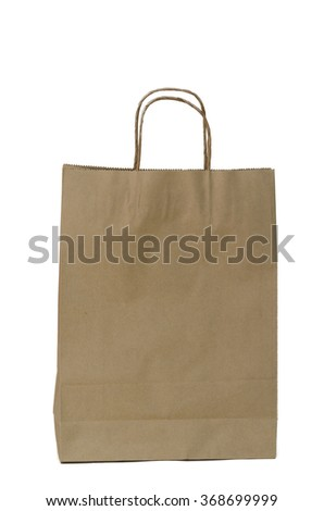 Brown paper bags isolated on the white.