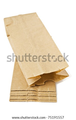 Brown paper bags on white background