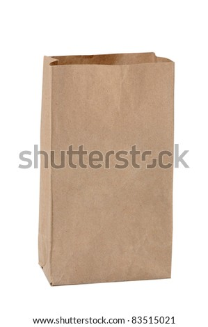 Brown paper bags on white background - stock photo