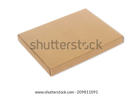 Brown paper box isolate on white background - stock photo