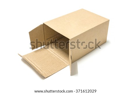 Brown paper box opened isolate on white background - stock photo