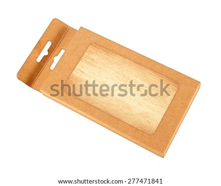 brown paper box with transparent window on white background - stock photo