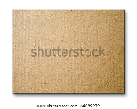 Brown paper card board isolated on white background - stock photo