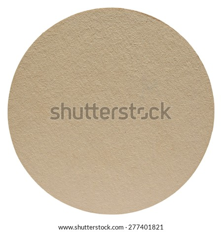 Brown paper cardboard beermat drink coaster isolated over white background - stock photo