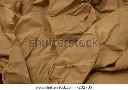 Brown Paper Crumpled - stock photo