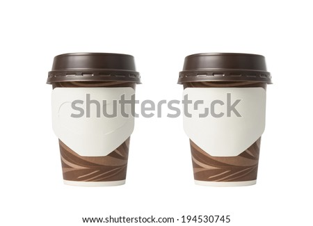 Brown paper cup of coffee isolated on white background.