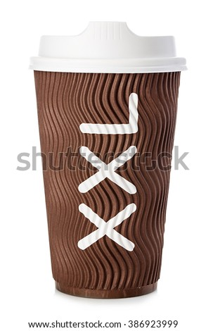 Brown paper cup of coffee or tea close-up isolated on white background. - stock photo