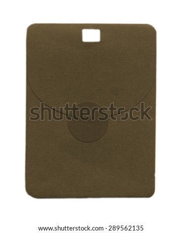 brown paper envelope for spare button isolated on white background