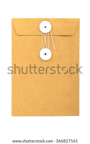 Brown paper envelope isolated on white background. - stock photo