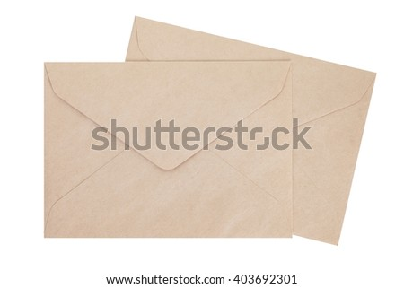 Brown paper envelope isolated on white background - stock photo