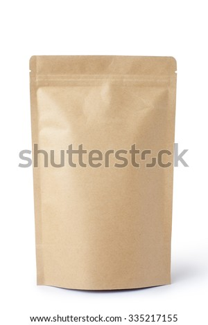 Brown paper food bag packaging with valve and seal - stock photo