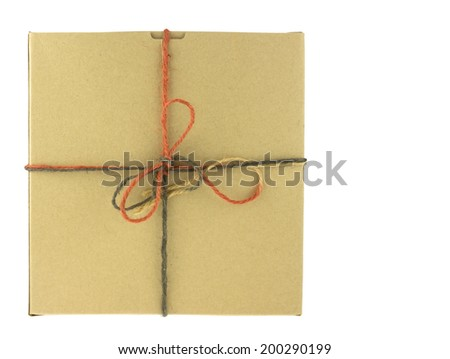 Brown paper gift box  tied with rough twine, isolated on white background