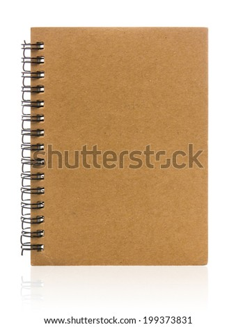 Brown paper notebook isolated on white background. - stock photo