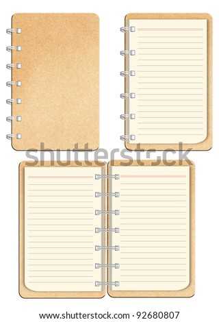 Brown Paper notebook on white background
