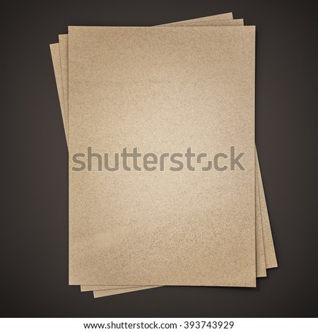 Brown paper on black background, 3d rendered - stock photo