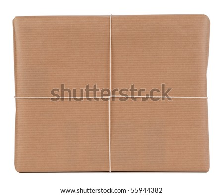Brown paper parcel isolated on white - stock photo