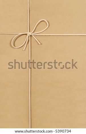 Brown paper parcel package background, vertical