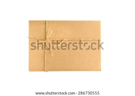 Brown paper parcel wrap delivery isolated on white background - stock photo