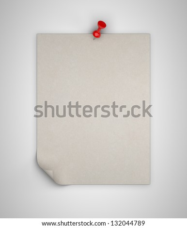 brown paper pinned on white background - stock photo