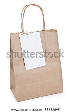Brown paper shopping bag and note paper