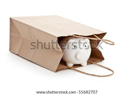 Brown paper shopping bag and Piggy Bank with white background - stock photo
