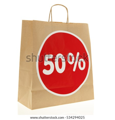 Brown paper shopping bag with 50% discount isolated over white background