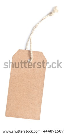 brown paper tag isolated on white background