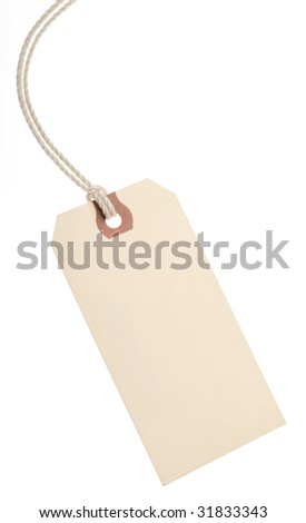Brown paper tag on white background.
