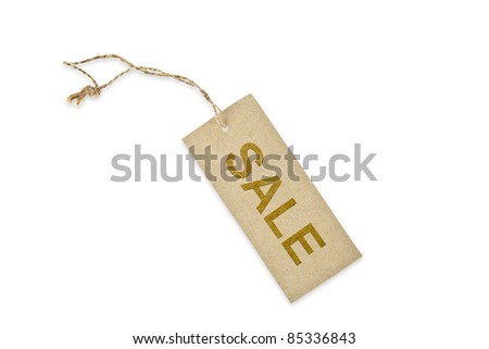Brown paper tag with word SALE - stock photo
