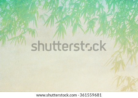 brown paper texture with bamboo leaves made with color filters - stock photo