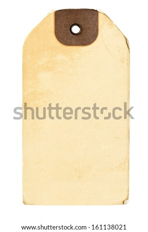 Brown paper vintage label isolated on white background - stock photo