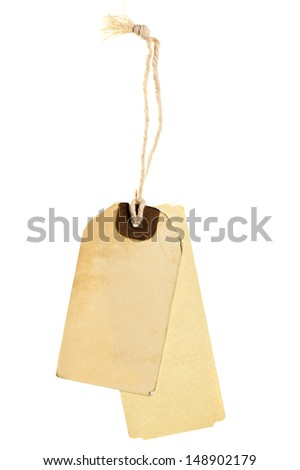 Brown paper vintage label with cord isolated on white background - stock photo